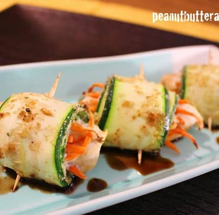 Zucchini Chicken Roll-ups with Honey Balsamic Drizzle