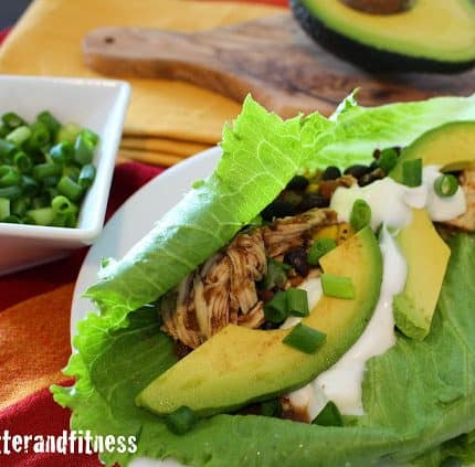Slow Cooker Chicken and Black Bean Lettuce Wraps