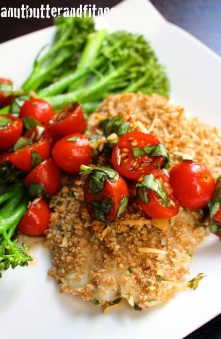 Panko Parmesan Crusted Cod with Bruschetta (Plus Meal Prep Ideas)