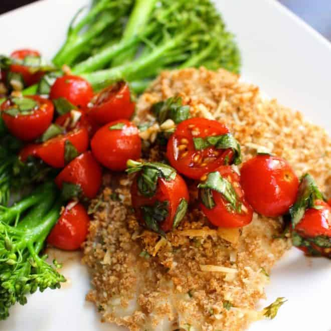 Panko Parmesan Crusted Cod with Bruschetta (Plus Meal Prep Ideas)