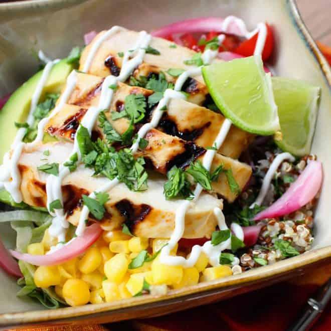 Miami Chicken Burrito Bowl with Cilantro Lime Quinoa