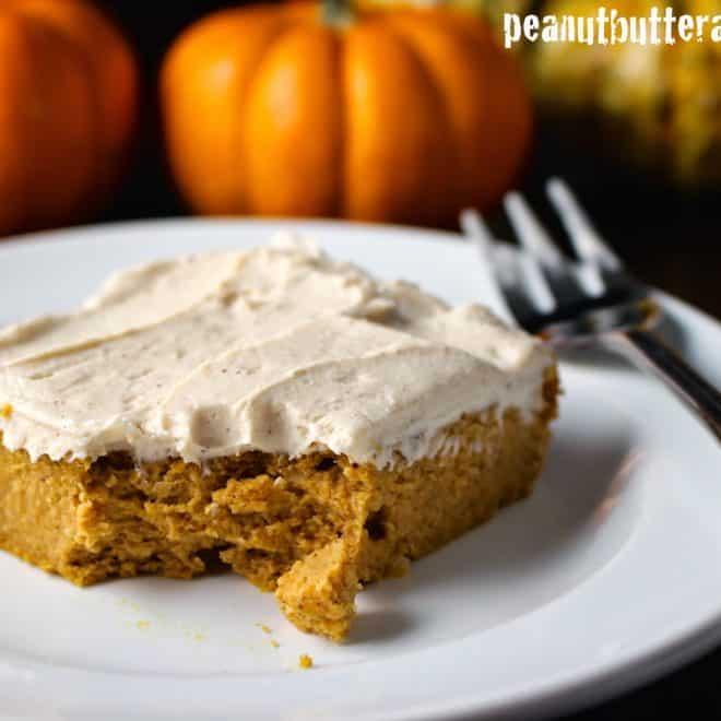 Cinnamon Pumpkin Swirl Peanut Butter Protein Blondies