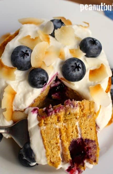 Blueberry Coconut Cream Protein Pancakes