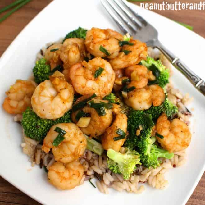 Spicy Garlic Shrimp with Broccoli and Rice