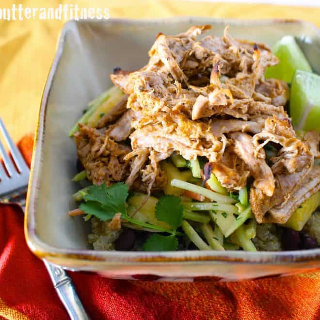 Slow Cooker Carnitas Bowl with Pineapple Broccoli Slaw