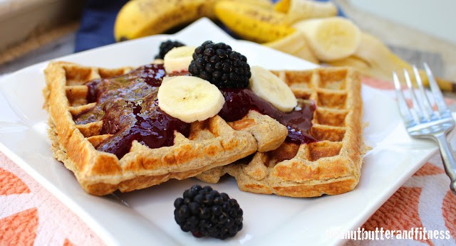 Banana Protein Waffles with Blackberry Sauce