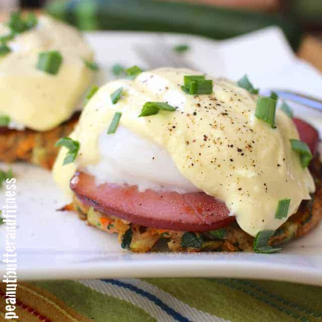 Healthier Eggs Benedict with Zucchini Sweet Potato Fritters - Peanut ...