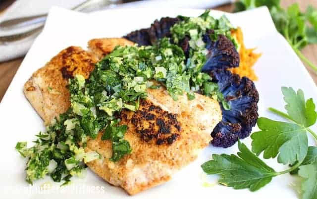Pan Seared Mahi with Roasted Carrot Mash, Purple Cauliflower Steaks and Gremolata