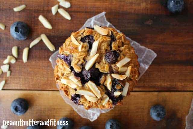 Blueberry Almond Baked Protein Oatmeal Muffins