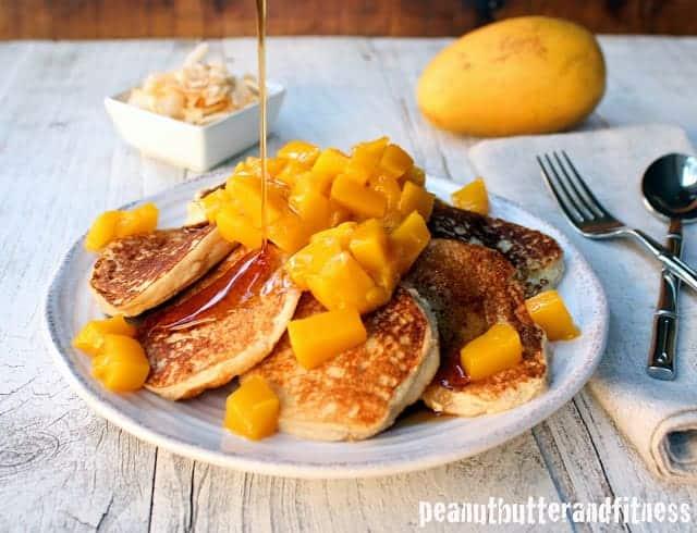 Mango Coconut Paleo Mini Pancakes