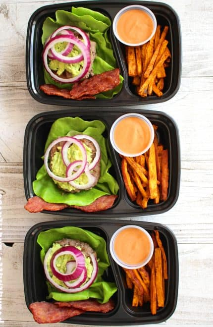 Protein Style Cali Burger with Sweet Potato Fries