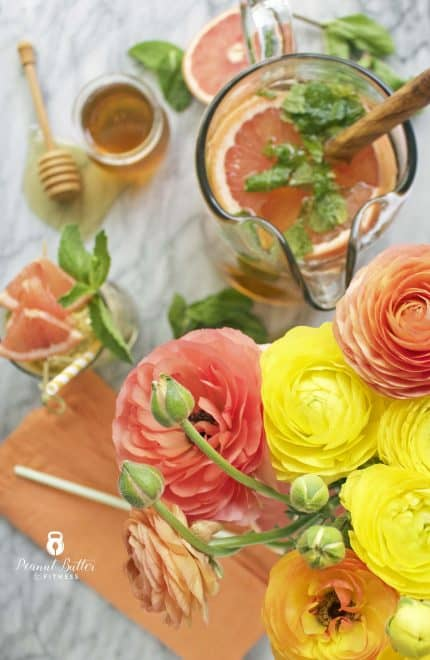 Sparkling Grapefruit and Mint Green Tea