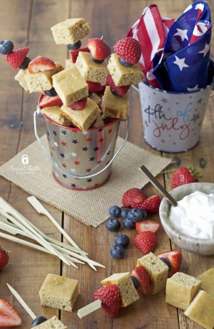 Red, White, and Blueberry Protein Cake Skewers