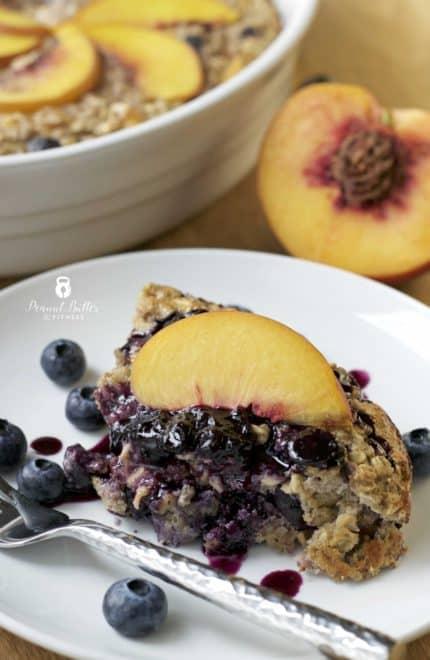 Peach Blueberry Protein Oatmeal Bake