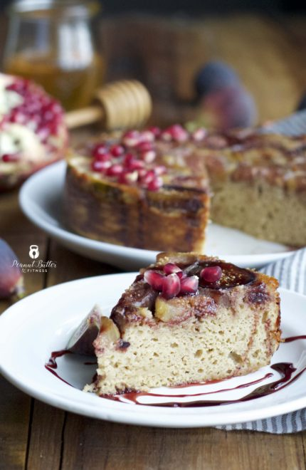 Honeyed Fig Protein Upside Down Cake with Pomegranate Glaze