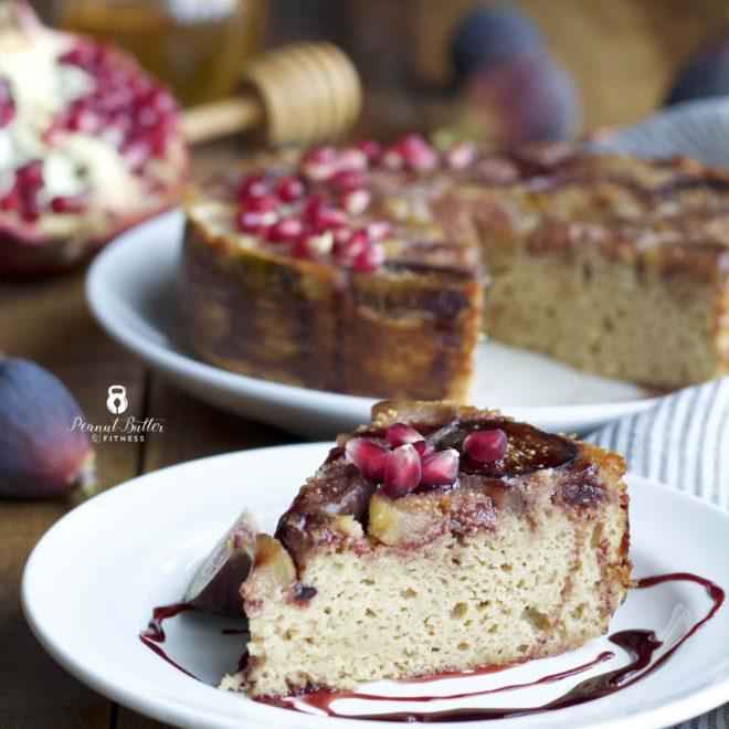 Honeyed Fig Protein Upside Down Cake with Pomegranate Glaze