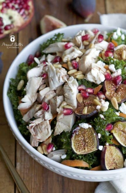 Roasted Fig and Kale Salad with Pomegranate Vinaigrette