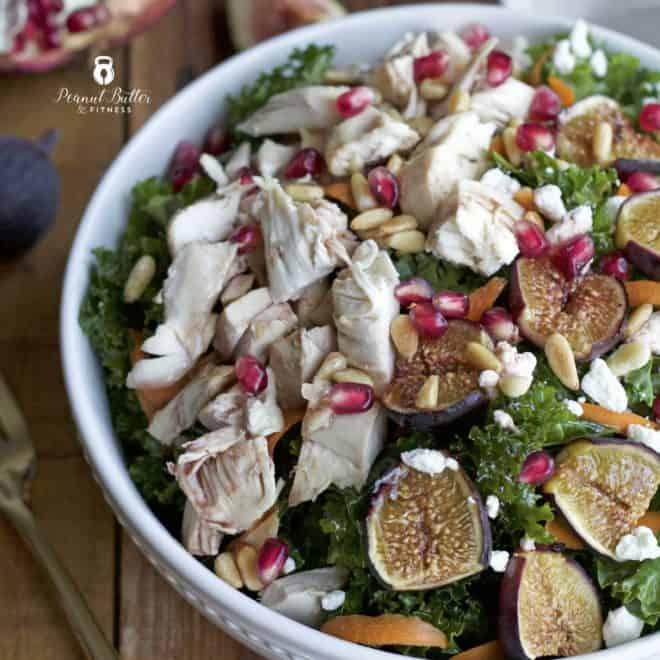 Roasted Fig and Kale Salad with Pomegranate Vinaigrette