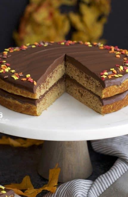 Pumpkin Protein Cake with Dark Chocolate Ganache
