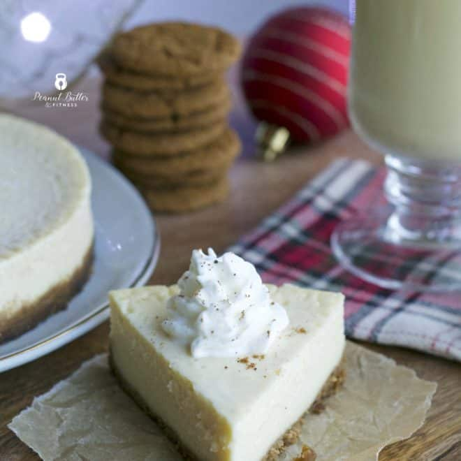 Eggnog Protein Cheesecake with Ginger Snap Crust