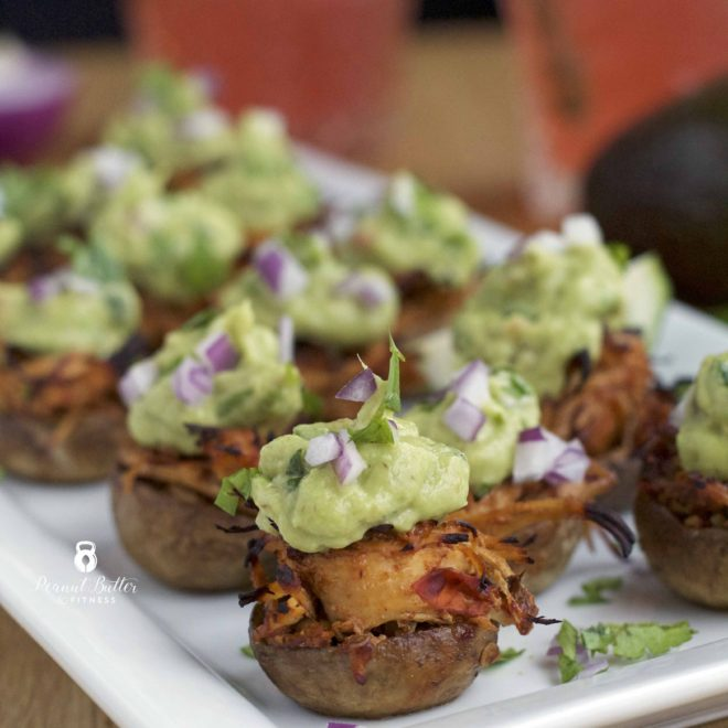 Chipotle Pulled Chicken Stuffed Mushrooms