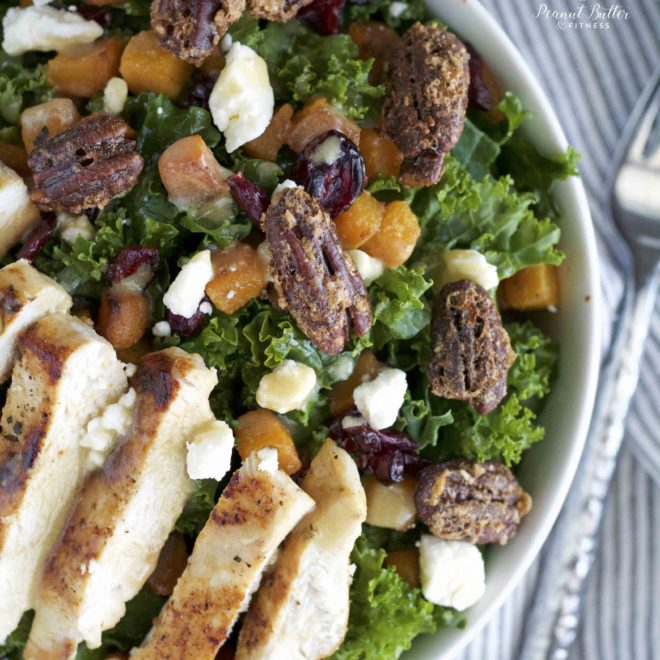 Roasted Butternut Squash and Kale Salad with Candied Pecans