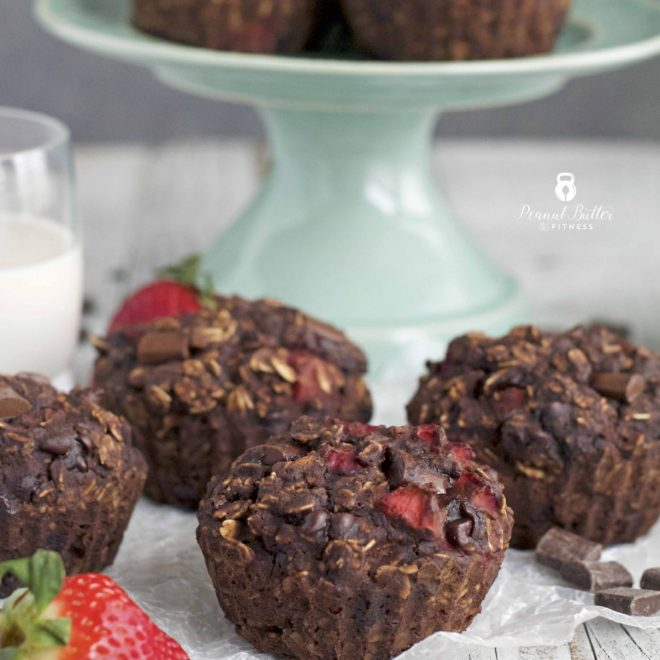 Chocolate Covered Strawberry Oatmeal Muffins