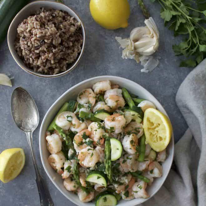 Lemon and Garlic Shrimp with Spring Veggies