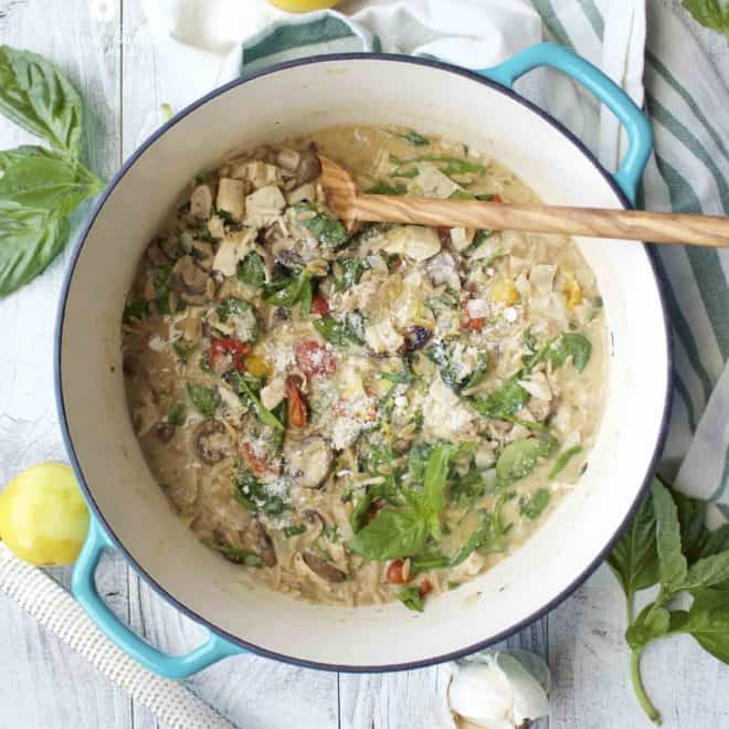 One-Pot Mushroom and Spinach Chicken Orzo