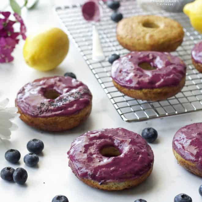 Lemon Poppyseed Protein Donuts with Blueberry Glaze