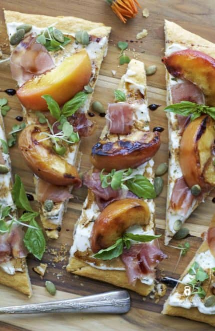 Grilled Peach & Prosciutto Flatbread with Balsamic Drizzle