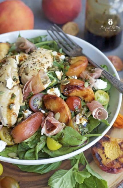 Grilled Peach and Prosciutto Chicken Salad