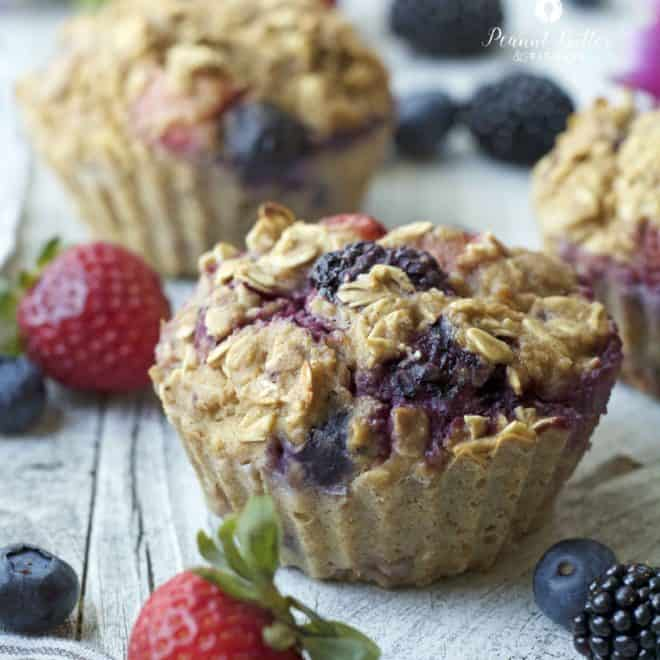 Mixed Berry Oatmeal Muffins