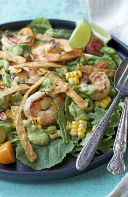 Roasted Corn and Shrimp Salad with Avocado Cilantro Dressing