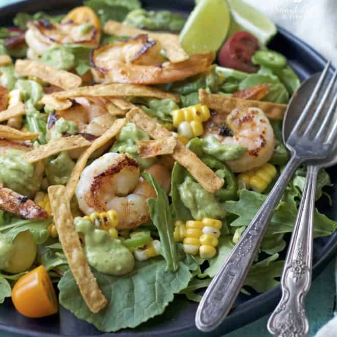Roasted Corn and Shrimp Salad with Avocado Cilantro Dressing