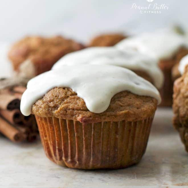 Pumpkin Protein Oat Muffins with Cream Cheese Icing
