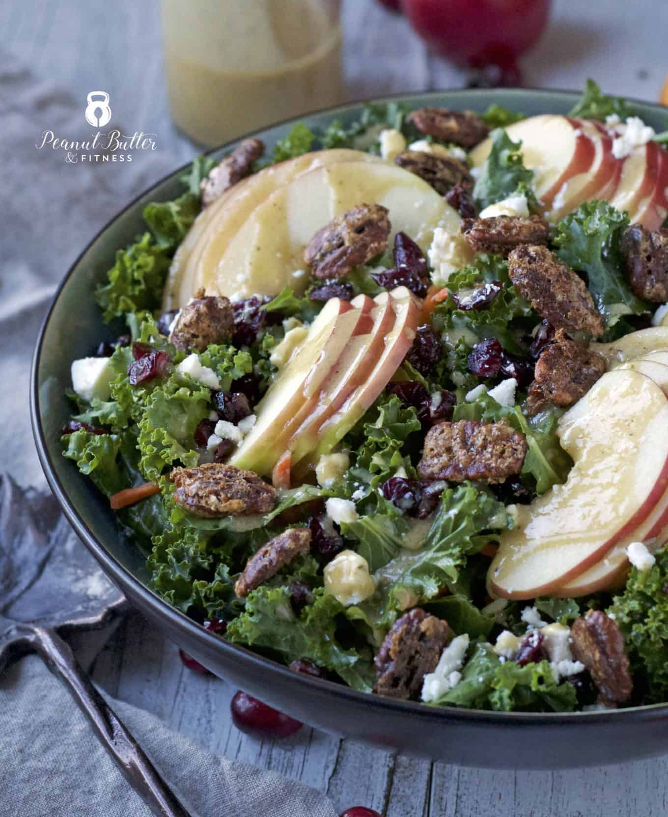 Shredded Brussels Sprouts and Kale Salad with Maple Dijon Vinaigrette